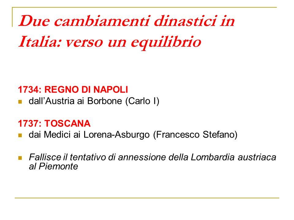 Due cambiamenti dinastici in Italia: verso un equilibrio 1734: REGNO DI NAPOLI dallAustria ai Borbone (Carlo I) 1737: TOSCANA dai Medici ai Lorena-Asb