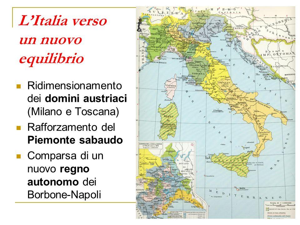 LItalia verso un nuovo equilibrio Ridimensionamento dei domini austriaci (Milano e Toscana) Rafforzamento del Piemonte sabaudo Comparsa di un nuovo regno autonomo dei Borbone-Napoli
