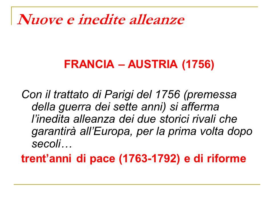 Nuove e inedite alleanze FRANCIA – AUSTRIA (1756) Con il trattato di Parigi del 1756 (premessa della guerra dei sette anni) si afferma linedita allean