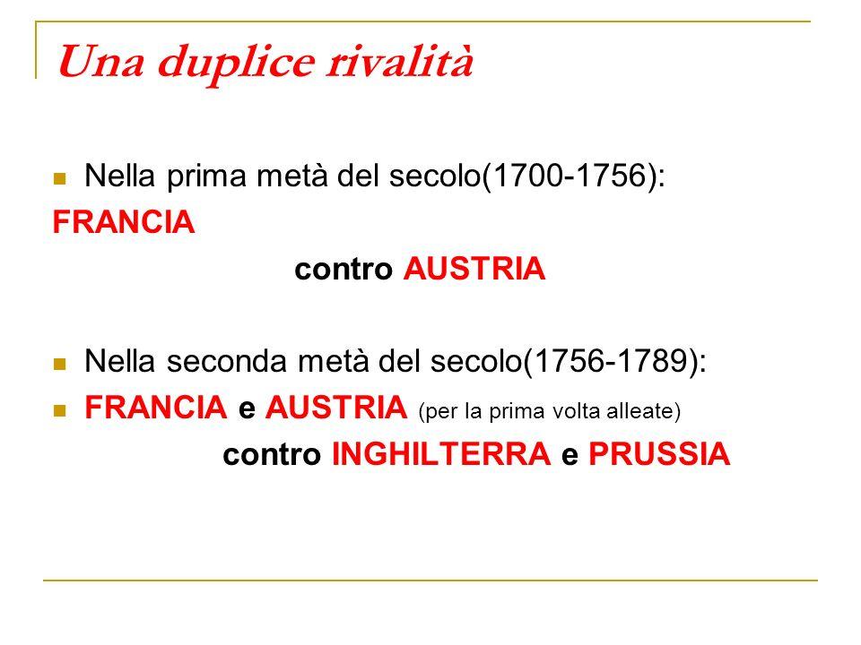 Una duplice rivalità Nella prima metà del secolo(1700-1756): FRANCIA contro AUSTRIA Nella seconda metà del secolo(1756-1789): FRANCIA e AUSTRIA (per l