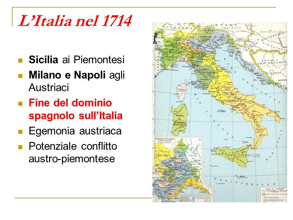 LItalia nel 1714 Sicilia ai Piemontesi Milano e Napoli agli Austriaci Fine del dominio spagnolo sullItalia Egemonia austriaca Potenziale conflitto austro-piemontese