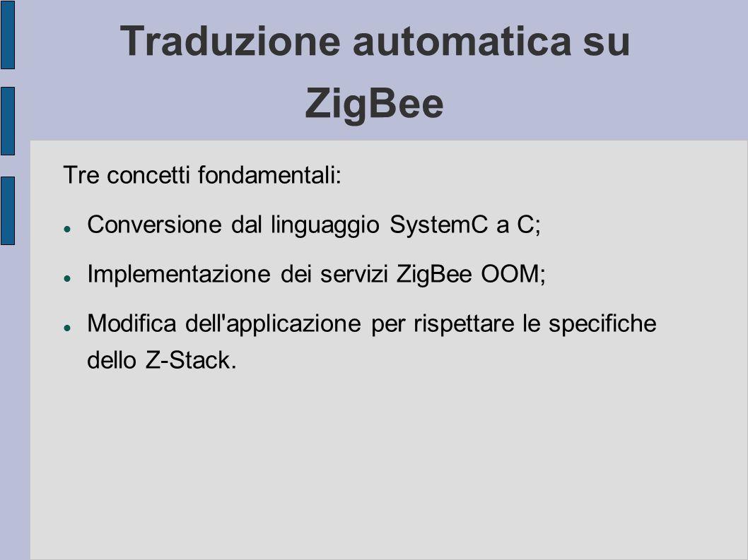 Traduzione automatica su ZigBee Tre concetti fondamentali: Conversione dal linguaggio SystemC a C; Implementazione dei servizi ZigBee OOM; Modifica de