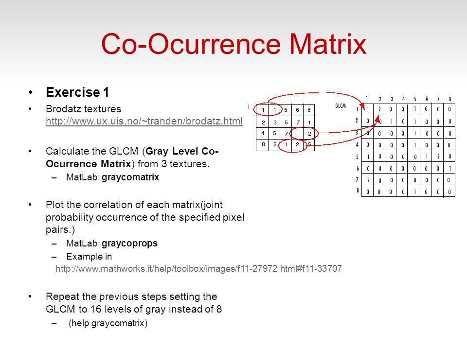 Co-Ocurrence Matrix Exercise 1 Brodatz textures http://www.ux.uis.no/~tranden/brodatz.html http://www.ux.uis.no/~tranden/brodatz.html Calculate the GLCM (Gray Level Co- Ocurrence Matrix) from 3 textures.