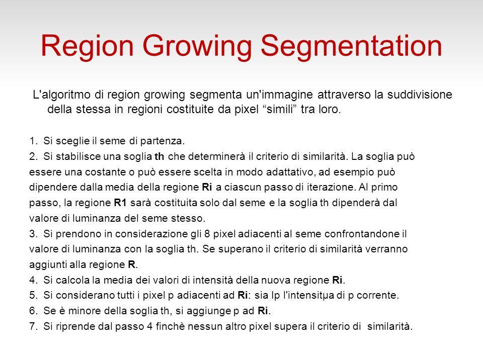 Region Growing Segmentation Esercizio 2 Caricare limmagine lungs.jpg e visualizzarla Identificare le coordinate di un seedpoint allinterno della regione del polmone a sx Utilizzare la funzione regiongrow per segmentare il polmone, assegnando una soglia opportuna
