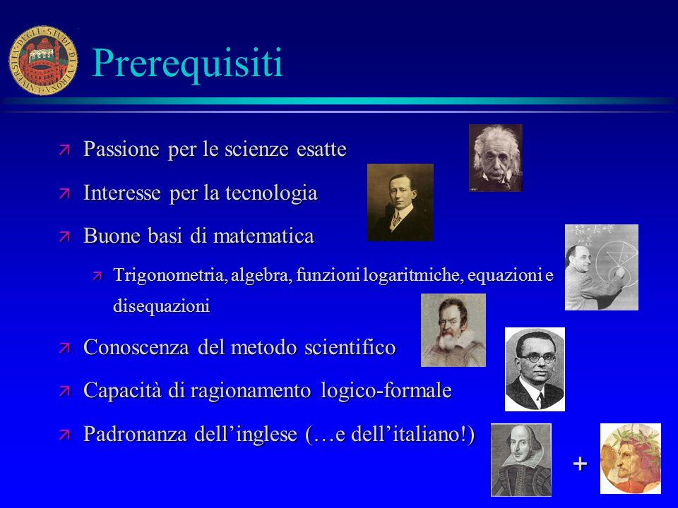 13 Prerequisiti ä Passione per le scienze esatte ä Interesse per la tecnologia ä Buone basi di matematica ä Trigonometria, algebra, funzioni logaritmi