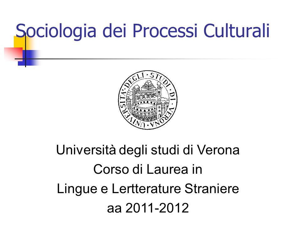 Sociologia dei Processi Culturali Università degli studi di Verona Corso di Laurea in Lingue e Lertterature Straniere aa 2011-2012