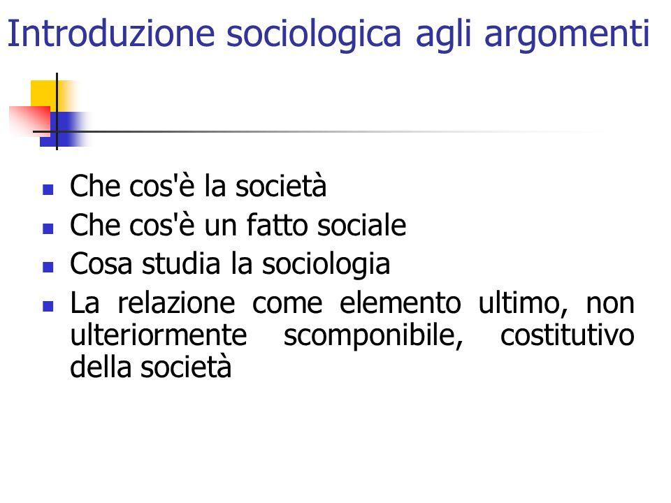 Introduzione sociologica agli argomenti Che cos'è la società Che cos'è un fatto sociale Cosa studia la sociologia La relazione come elemento ultimo, n