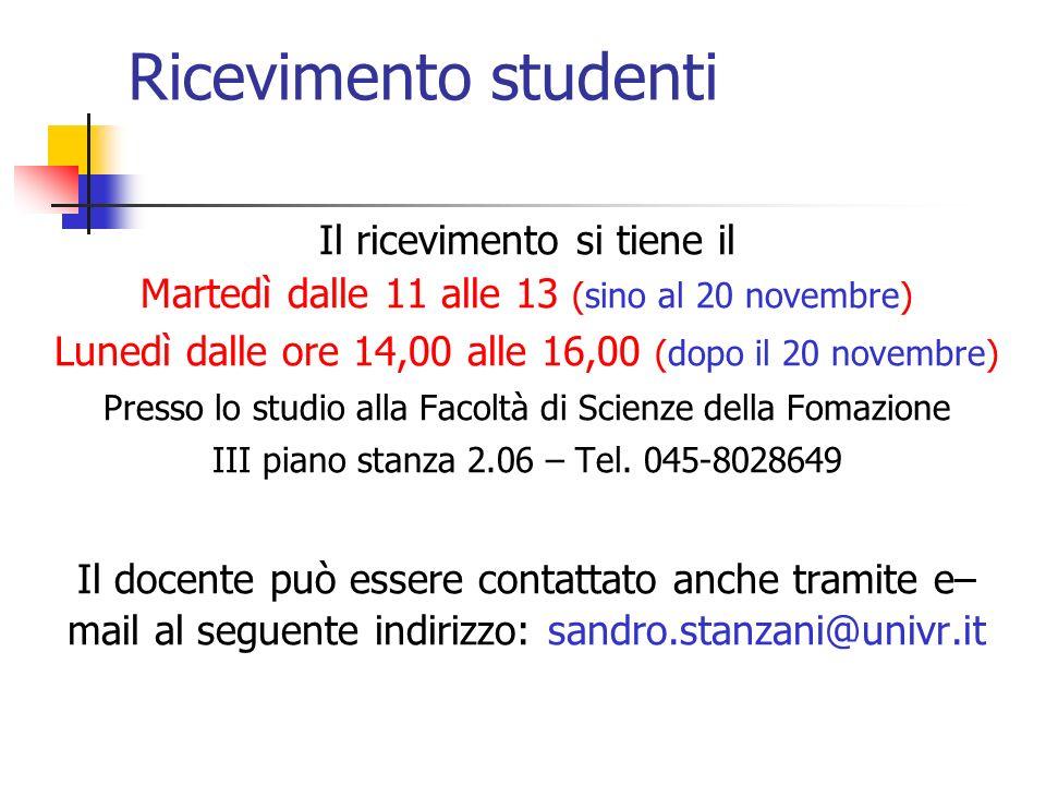 Ricevimento studenti Il ricevimento si tiene il Martedì dalle 11 alle 13 (sino al 20 novembre) Lunedì dalle ore 14,00 alle 16,00 (dopo il 20 novembre)