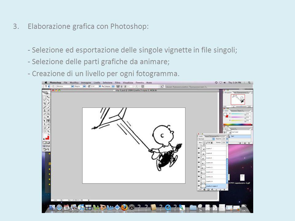 3.Elaborazione grafica con Photoshop: - Selezione ed esportazione delle singole vignette in file singoli; - Selezione delle parti grafiche da animare; - Creazione di un livello per ogni fotogramma.