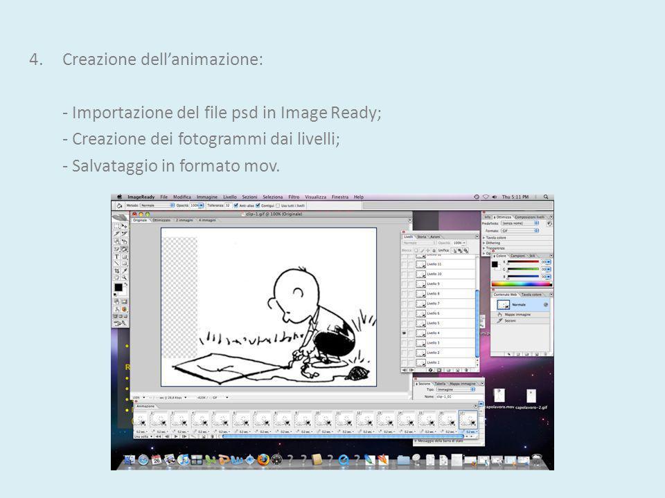 4.Creazione dellanimazione: - Importazione del file psd in Image Ready; - Creazione dei fotogrammi dai livelli; - Salvataggio in formato mov.