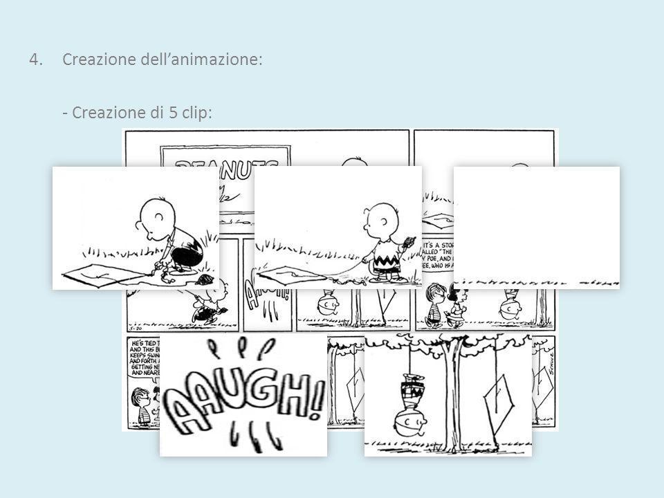 4.Creazione dellanimazione: - Creazione di 5 clip: