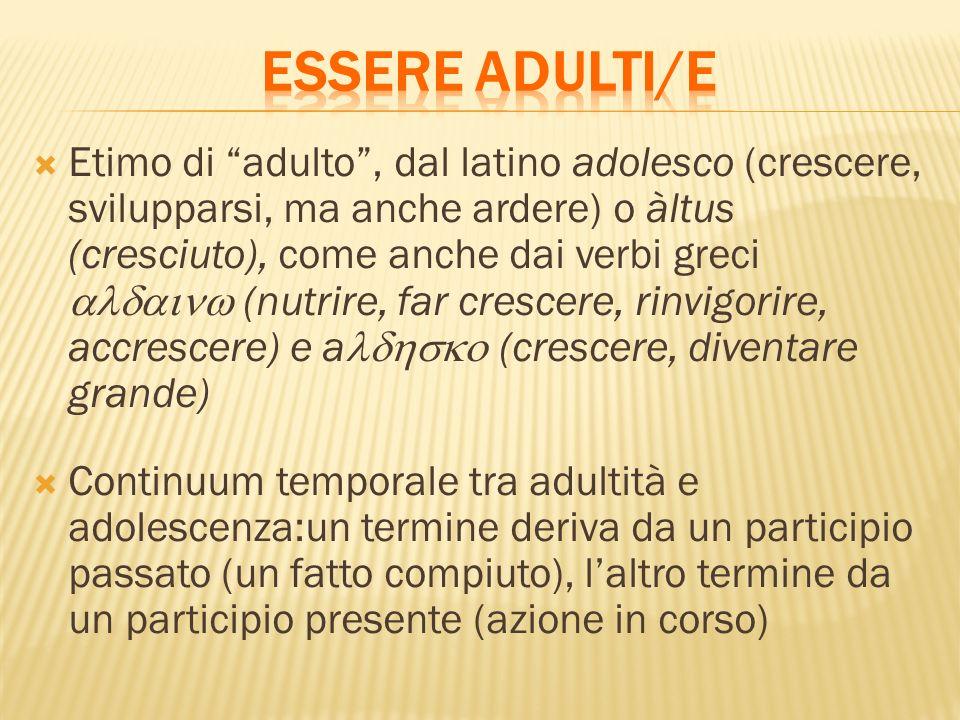 Etimo di adulto, dal latino adolesco (crescere, svilupparsi, ma anche ardere) o àltus (cresciuto), come anche dai verbi greci (nutrire, far crescere, rinvigorire, accrescere) e a (crescere, diventare grande) Continuum temporale tra adultità e adolescenza:un termine deriva da un participio passato (un fatto compiuto), laltro termine da un participio presente (azione in corso)