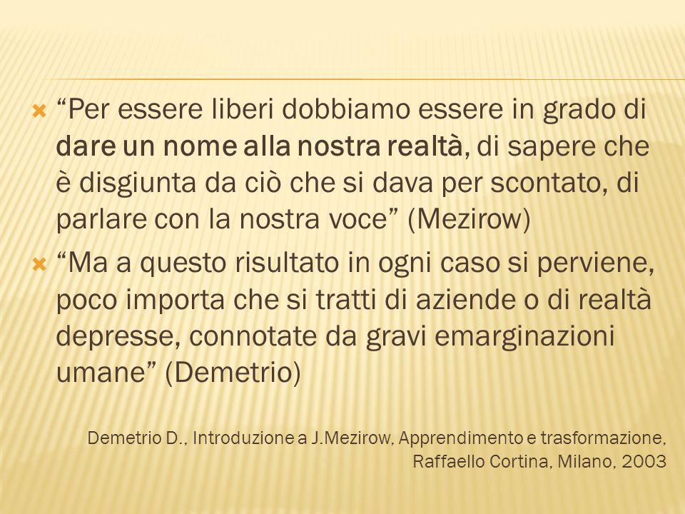 Per essere liberi dobbiamo essere in grado di dare un nome alla nostra realtà, di sapere che è disgiunta da ciò che si dava per scontato, di parlare con la nostra voce (Mezirow) Ma a questo risultato in ogni caso si perviene, poco importa che si tratti di aziende o di realtà depresse, connotate da gravi emarginazioni umane (Demetrio) Demetrio D., Introduzione a J.Mezirow, Apprendimento e trasformazione, Raffaello Cortina, Milano, 2003