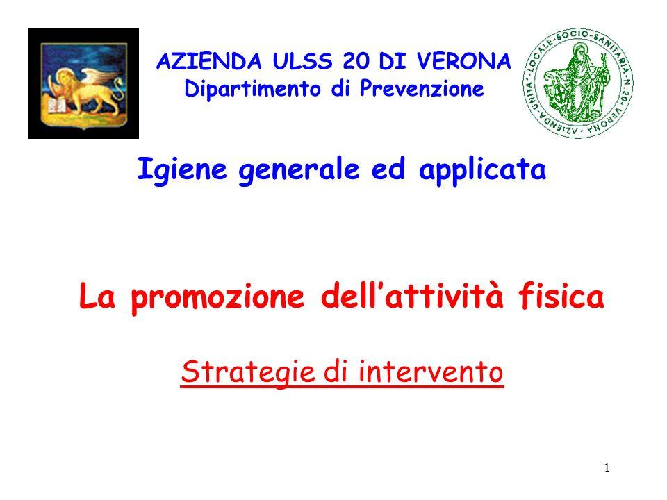 1 AZIENDA ULSS 20 DI VERONA Dipartimento di Prevenzione Igiene generale ed applicata La promozione dellattività fisica Strategie di intervento