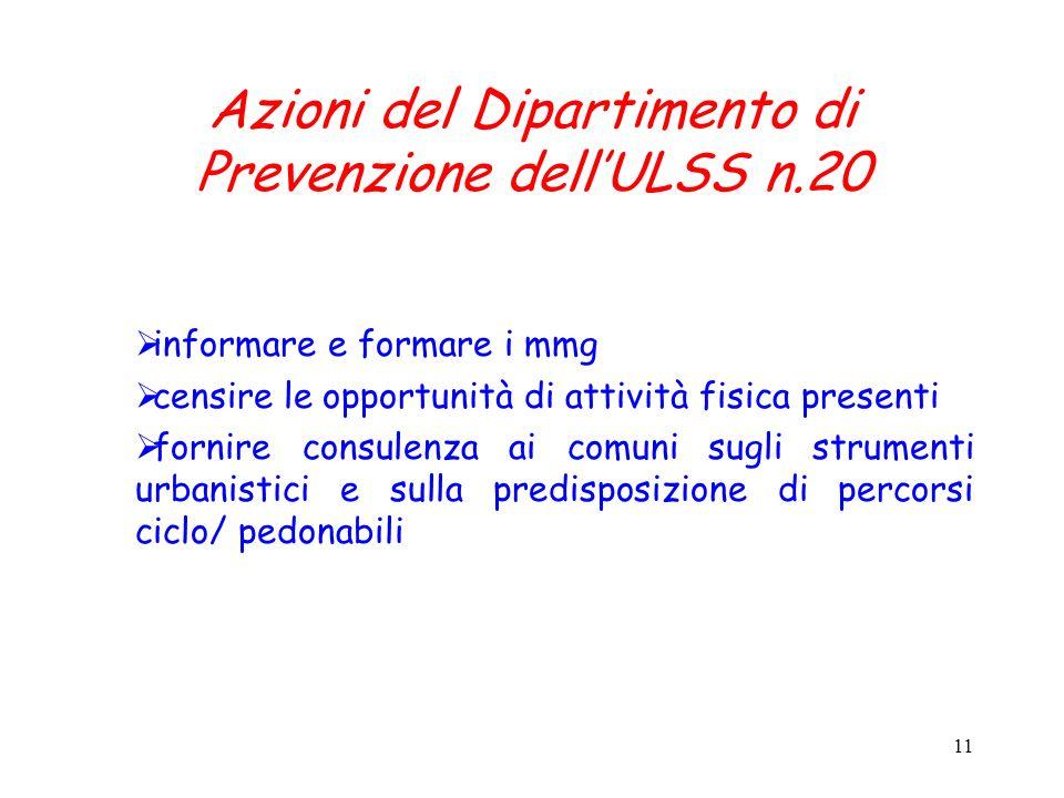 11 Azioni del Dipartimento di Prevenzione dellULSS n.20 informare e formare i mmg censire le opportunità di attività fisica presenti fornire consulenz