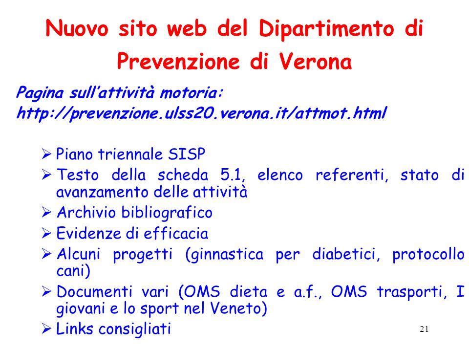 21 Nuovo sito web del Dipartimento di Prevenzione di Verona Pagina sullattività motoria: http://prevenzione.ulss20.verona.it/attmot.html Piano trienna