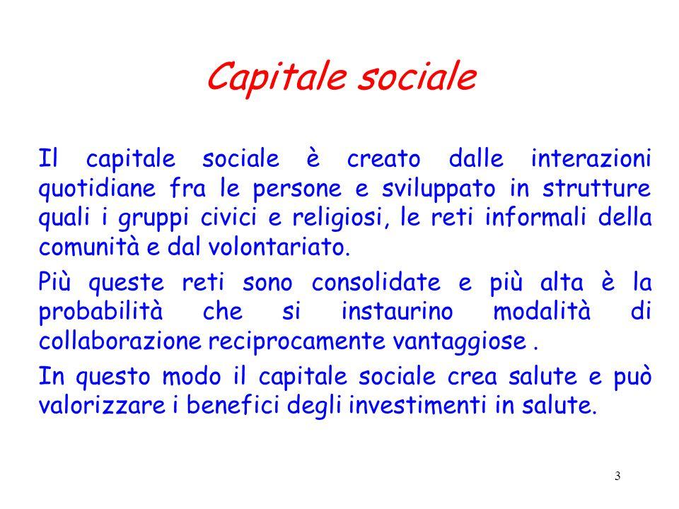 3 Capitale sociale Il capitale sociale è creato dalle interazioni quotidiane fra le persone e sviluppato in strutture quali i gruppi civici e religios