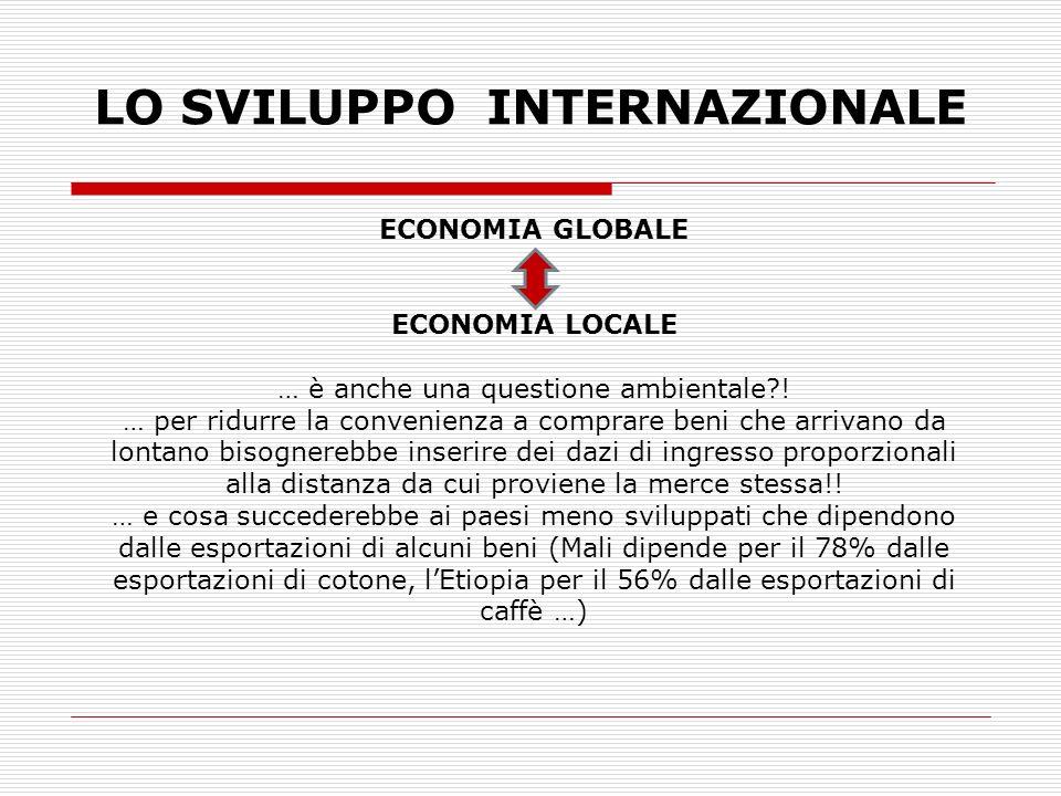 LO SVILUPPO INTERNAZIONALE ECONOMIA GLOBALE ECONOMIA LOCALE … è anche una questione ambientale?! … per ridurre la convenienza a comprare beni che arri