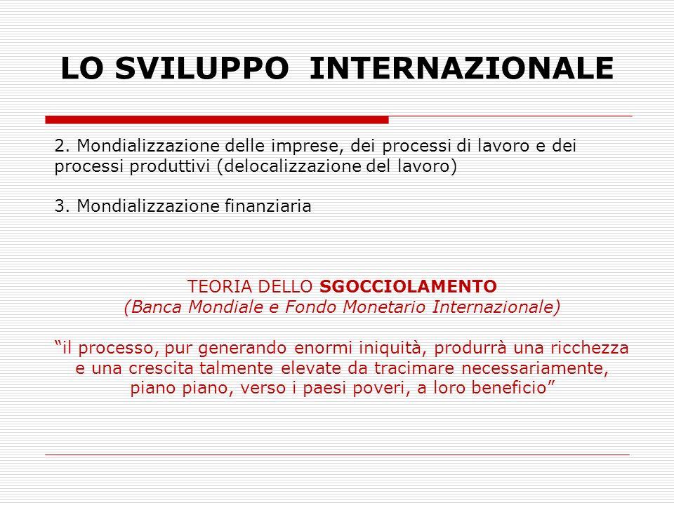 LO SVILUPPO INTERNAZIONALE 2. Mondializzazione delle imprese, dei processi di lavoro e dei processi produttivi (delocalizzazione del lavoro) 3. Mondia
