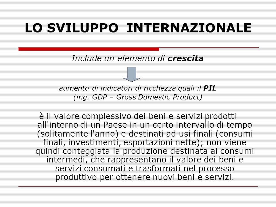 LO SVILUPPO INTERNAZIONALE Include un elemento di crescita aumento di indicatori di ricchezza quali il PIL (ing. GDP – Gross Domestic Product) è il va