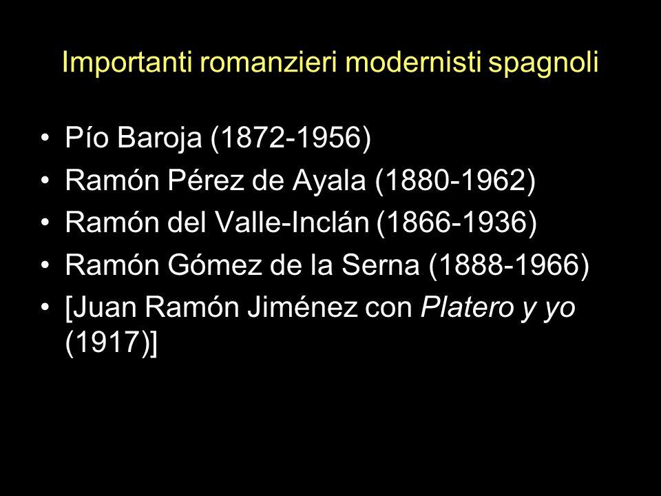 Importanti romanzieri modernisti spagnoli Pío Baroja (1872-1956) Ramón Pérez de Ayala (1880-1962) Ramón del Valle-Inclán (1866-1936) Ramón Gómez de la