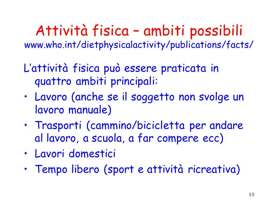 10 Attività fisica – ambiti possibili www.who.int/dietphysicalactivity/publications/facts/ Lattività fisica può essere praticata in quattro ambiti pri