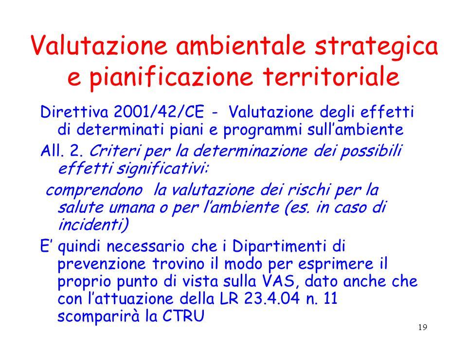 19 Valutazione ambientale strategica e pianificazione territoriale Direttiva 2001/42/CE - Valutazione degli effetti di determinati piani e programmi sullambiente All.