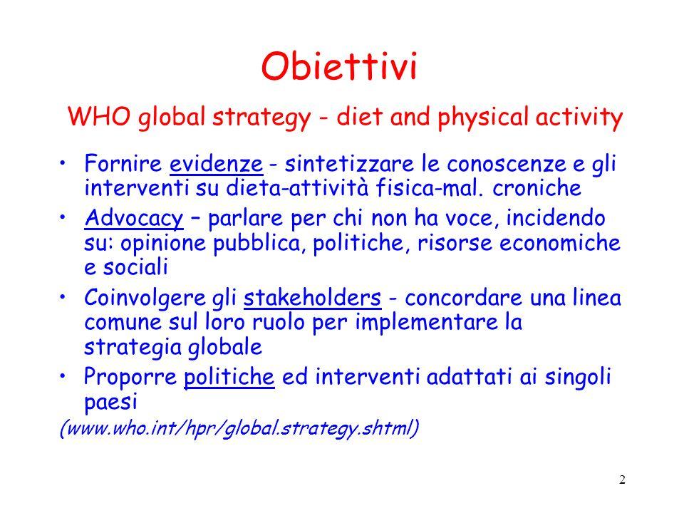 2 Obiettivi WHO global strategy - diet and physical activity Fornire evidenze - sintetizzare le conoscenze e gli interventi su dieta-attività fisica-mal.