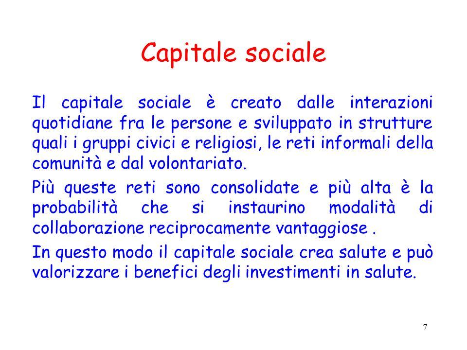 7 Capitale sociale Il capitale sociale è creato dalle interazioni quotidiane fra le persone e sviluppato in strutture quali i gruppi civici e religios