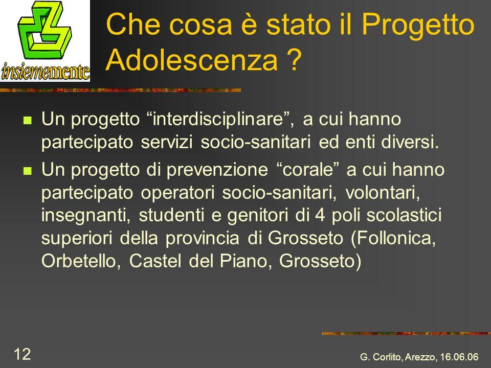 G. Corlito, Arezzo, 16.06.06 12 Che cosa è stato il Progetto Adolescenza ? Un progetto interdisciplinare, a cui hanno partecipato servizi socio-sanita