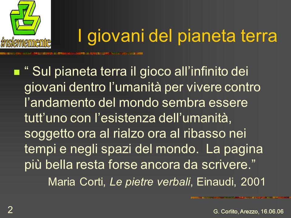 G. Corlito, Arezzo, 16.06.06 2 I giovani del pianeta terra Sul pianeta terra il gioco allinfinito dei giovani dentro lumanità per vivere contro landam