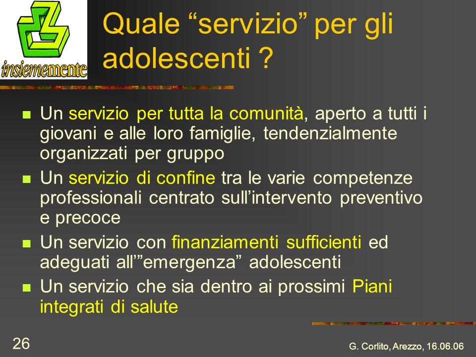 G. Corlito, Arezzo, 16.06.06 26 Quale servizio per gli adolescenti ? Un servizio per tutta la comunità, aperto a tutti i giovani e alle loro famiglie,