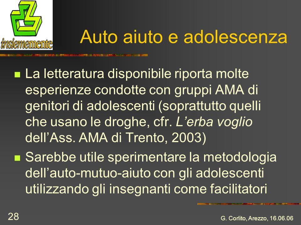 G. Corlito, Arezzo, 16.06.06 28 Auto aiuto e adolescenza La letteratura disponibile riporta molte esperienze condotte con gruppi AMA di genitori di ad