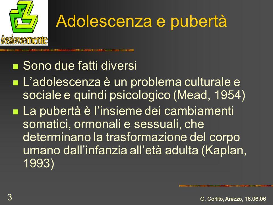 G. Corlito, Arezzo, 16.06.06 3 Adolescenza e pubertà Sono due fatti diversi Ladolescenza è un problema culturale e sociale e quindi psicologico (Mead,