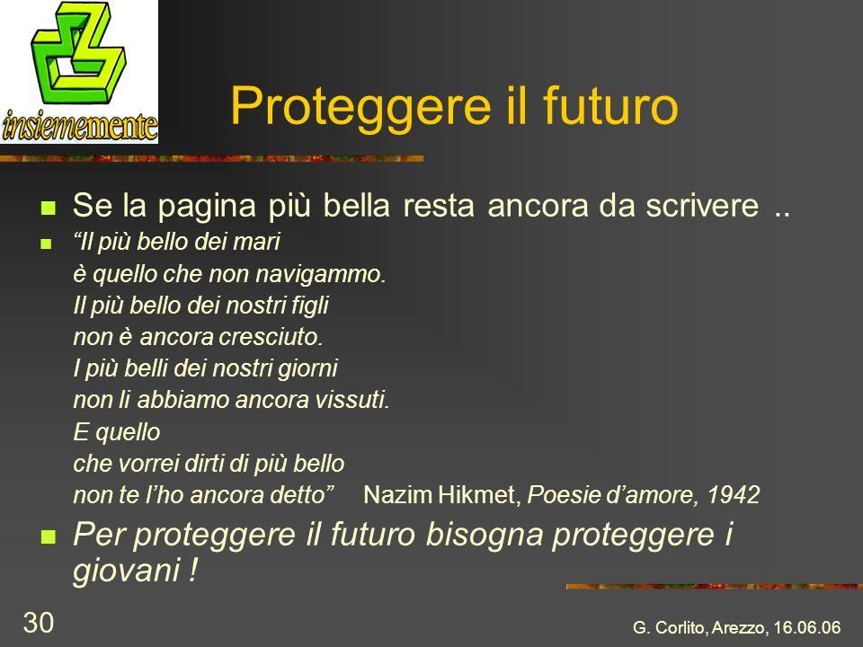 G. Corlito, Arezzo, 16.06.06 30 Proteggere il futuro Se la pagina più bella resta ancora da scrivere.. Il più bello dei mari è quello che non navigamm