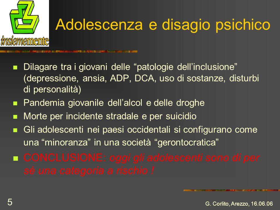 G. Corlito, Arezzo, 16.06.06 5 Adolescenza e disagio psichico Dilagare tra i giovani delle patologie dellinclusione (depressione, ansia, ADP, DCA, uso