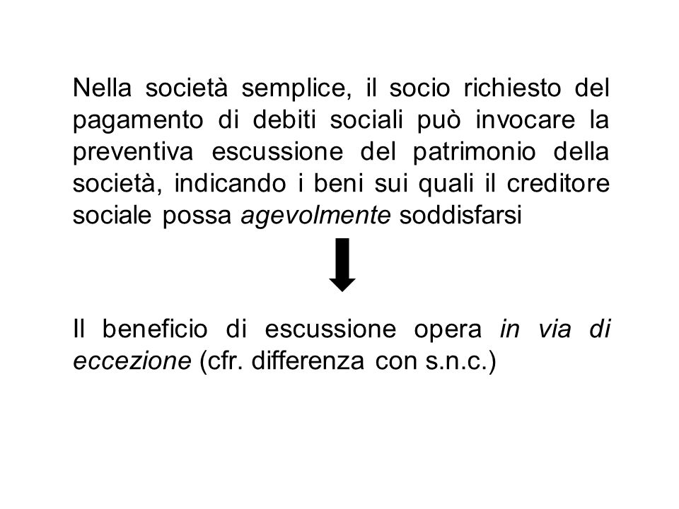 Nella società semplice, il socio richiesto del pagamento di debiti sociali può invocare la preventiva escussione del patrimonio della società, indican