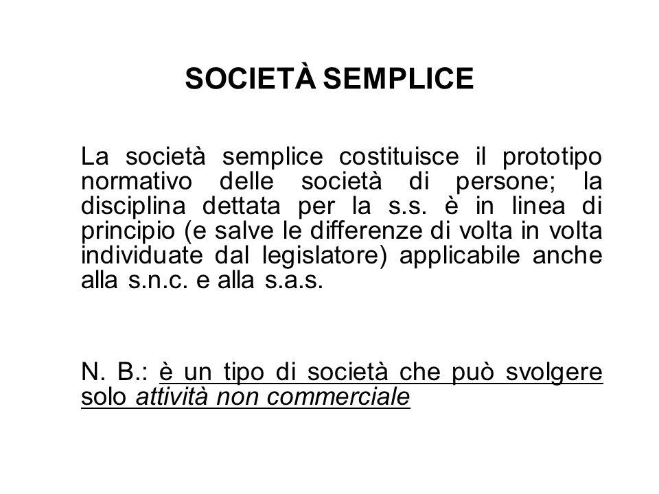 SOCIETÀ SEMPLICE La società semplice costituisce il prototipo normativo delle società di persone; la disciplina dettata per la s.s. è in linea di prin
