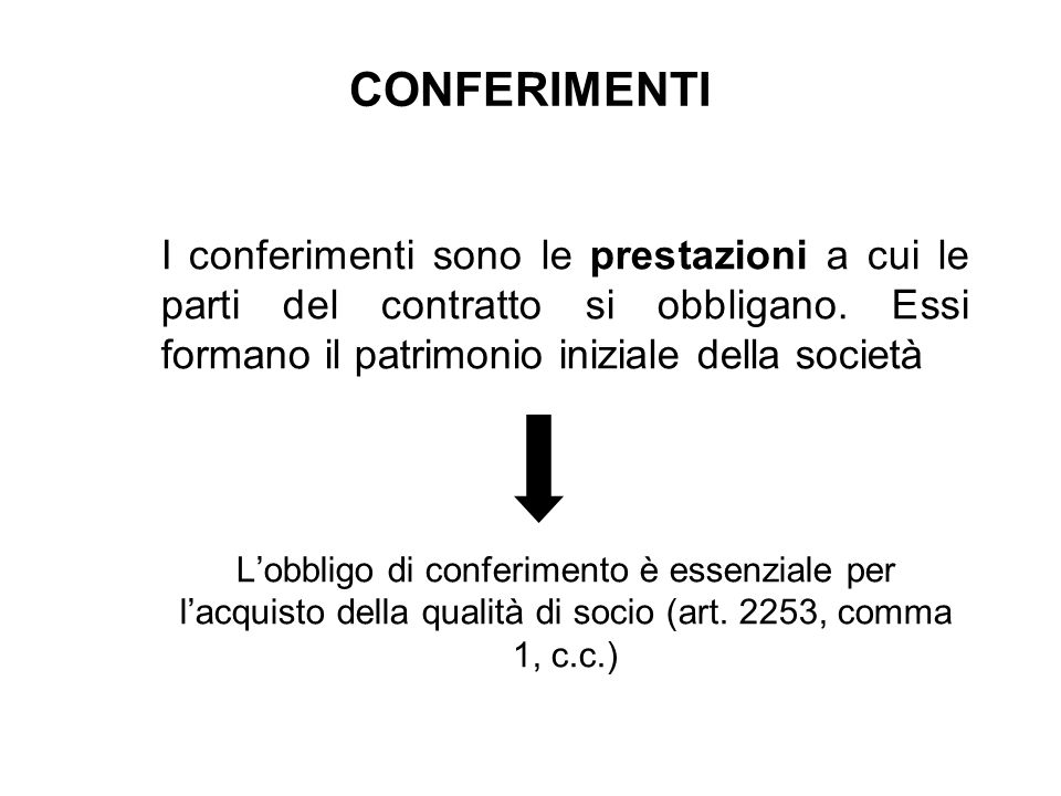 CONFERIMENTI I conferimenti sono le prestazioni a cui le parti del contratto si obbligano. Essi formano il patrimonio iniziale della società Lobbligo