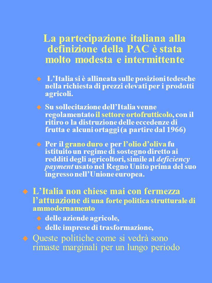 La partecipazione italiana alla definizione della PAC è stata molto modesta e intermittente LItalia si è allineata sulle posizioni tedesche nella richiesta di prezzi elevati per i prodotti agricoli.