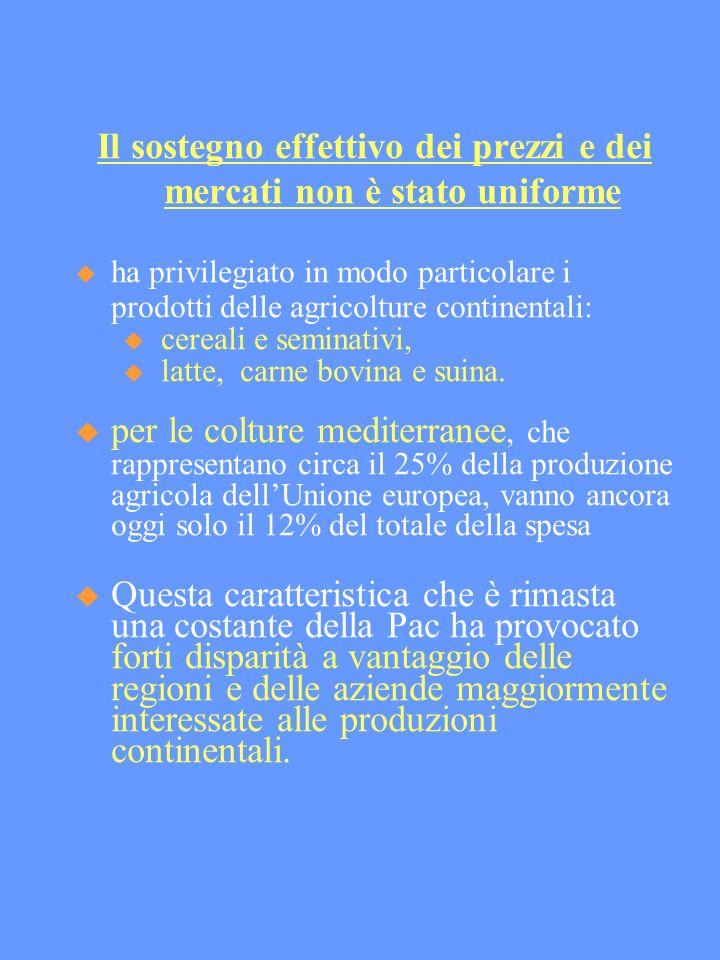 Il sostegno effettivo dei prezzi e dei mercati non è stato uniforme ha privilegiato in modo particolare i prodotti delle agricolture continentali: cereali e seminativi, latte, carne bovina e suina.
