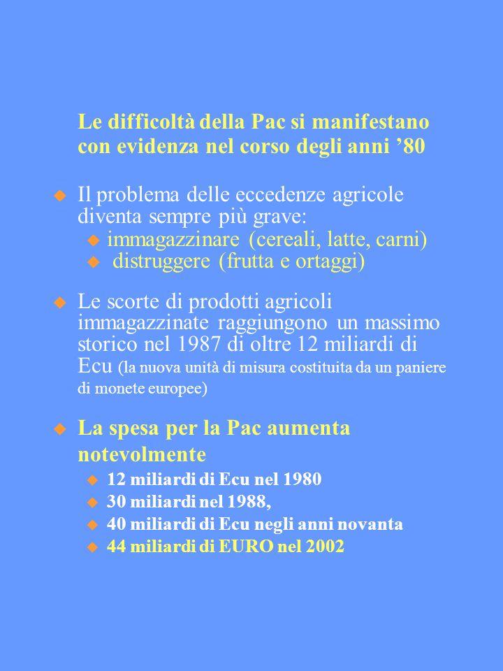 Le difficoltà della Pac si manifestano con evidenza nel corso degli anni 80 Il problema delle eccedenze agricole diventa sempre più grave: immagazzinare (cereali, latte, carni) distruggere (frutta e ortaggi) Le scorte di prodotti agricoli immagazzinate raggiungono un massimo storico nel 1987 di oltre 12 miliardi di Ecu (la nuova unità di misura costituita da un paniere di monete europee) La spesa per la Pac aumenta notevolmente 12 miliardi di Ecu nel 1980 30 miliardi nel 1988, 40 miliardi di Ecu negli anni novanta 44 miliardi di EURO nel 2002