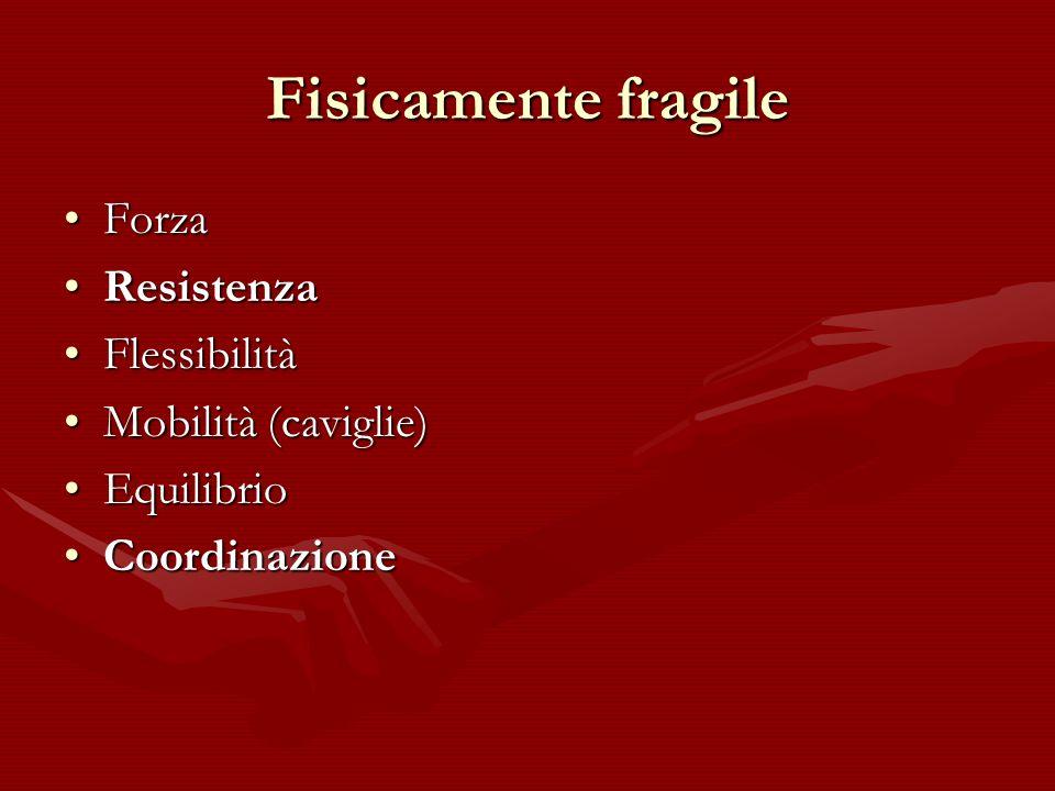 Fisicamente fragile ForzaForza ResistenzaResistenza FlessibilitàFlessibilità Mobilità (caviglie)Mobilità (caviglie) EquilibrioEquilibrio Coordinazione