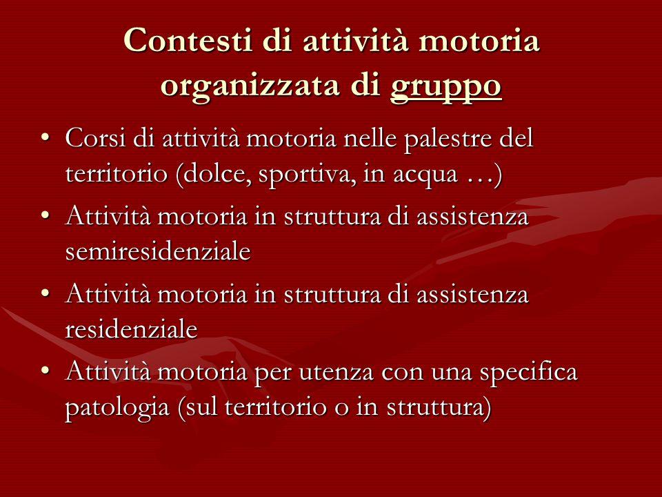 Contesti di attività motoria organizzata di gruppo Corsi di attività motoria nelle palestre del territorio (dolce, sportiva, in acqua …)Corsi di attiv