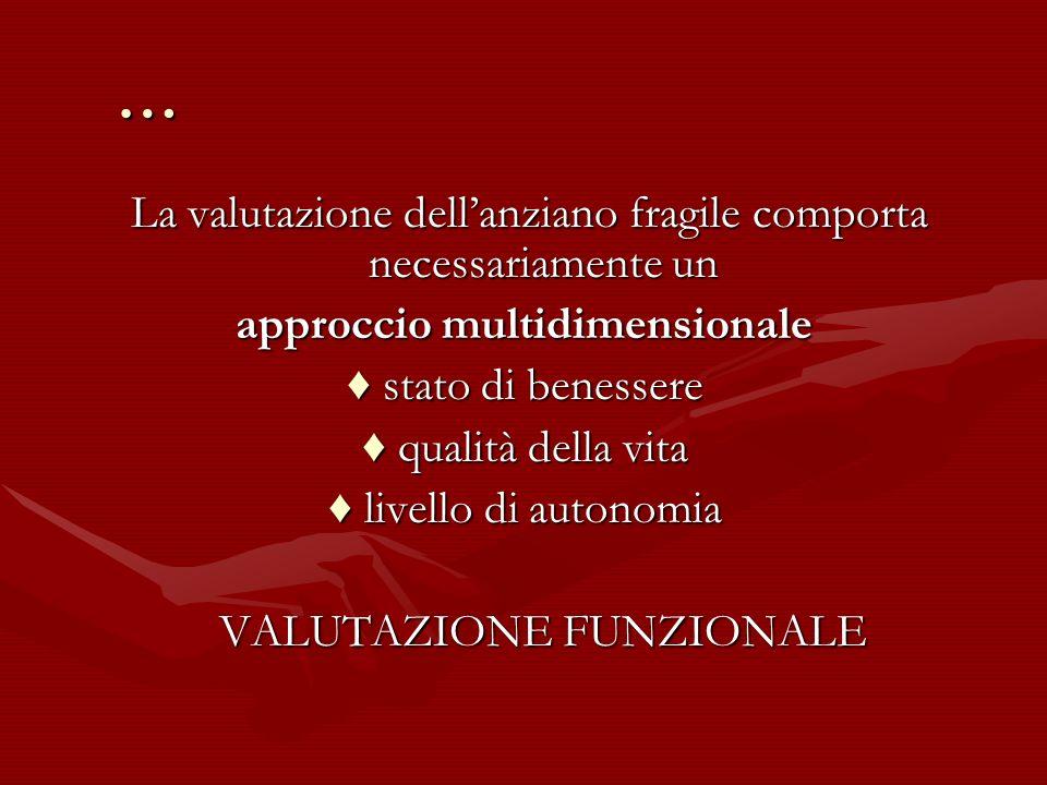 … La valutazione dellanziano fragile comporta necessariamente un La valutazione dellanziano fragile comporta necessariamente un approccio multidimensi