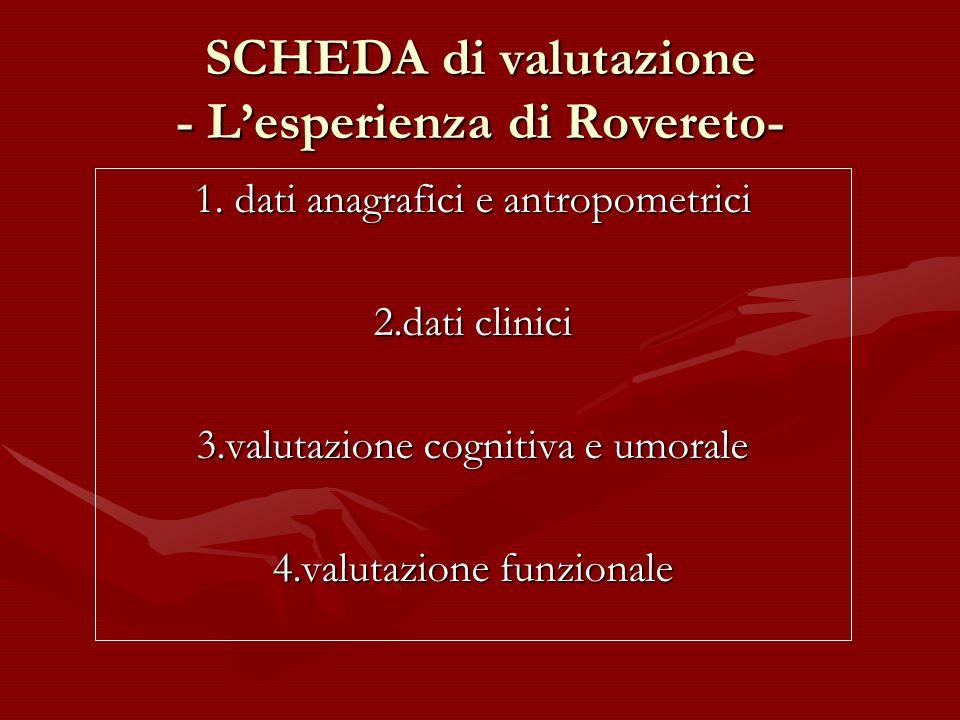 SCHEDA di valutazione - Lesperienza di Rovereto- 1. dati anagrafici e antropometrici 2.dati clinici 3.valutazione cognitiva e umorale 4.valutazione fu