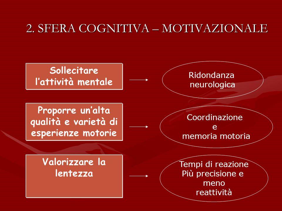 2. SFERA COGNITIVA – MOTIVAZIONALE Sollecitare lattività mentale Ridondanza neurologica Proporre unalta qualità e varietà di esperienze motorie Coordi