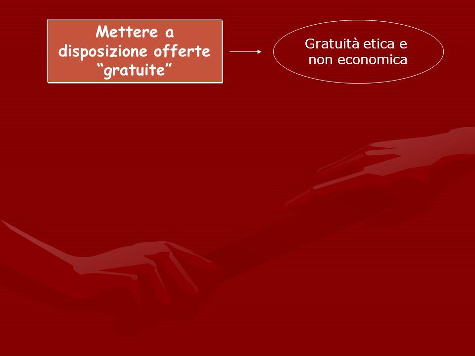 Mettere a disposizione offerte gratuite Gratuità etica e non economica