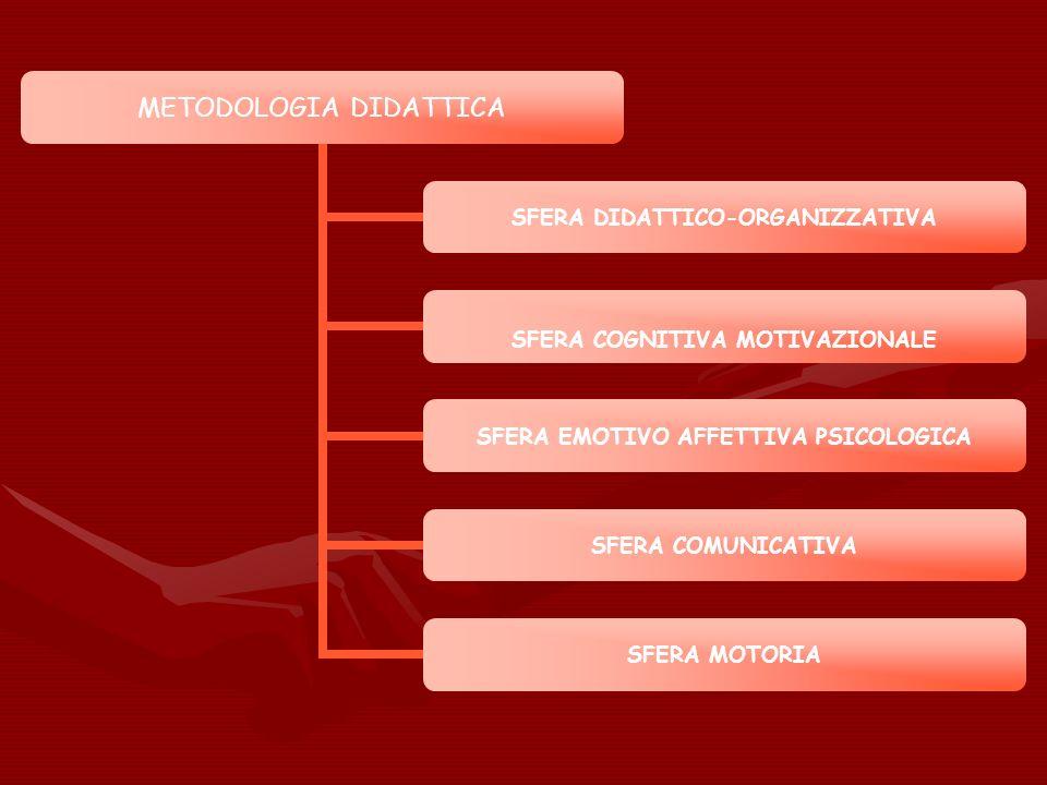 METODOLOGIA DIDATTICA SFERA DIDATTICO- ORGANIZZATIVA SFERA COGNITIVA MOTIVAZIONALE SFERA EMOTIVO AFFETTIVA PSICOLOGICA SFERA COMUNICATIVA SFERA MOTORI