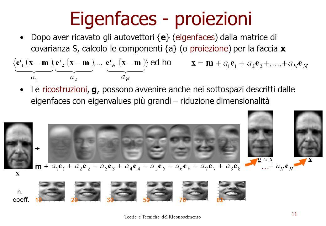 11 Eigenfaces - proiezioni Dopo aver ricavato gli autovettori {e} (eigenfaces) dalla matrice di covarianza S, calcolo le componenti {a} (o proiezione)